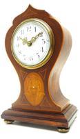 Super Art Nouveau Mantle Clock Tulip Floral Inlay 8 Day Mantle Clock (10 of 15)