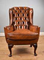Victorian Hand Dyed Brown Leather Wing Back Armchair (2 of 13)