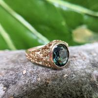 Vintage 9ct Yellow Gold Green Synthetic Spinel Dress Ring, Imitation Tourmaline (5 of 10)