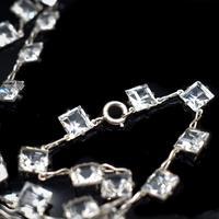 Art Deco Princess Cut Paste Sterling Silver Riviere Short Necklace (3 of 9)