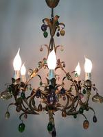 Murano Glass Fruit Venetian 6 Arm Toleware Ceiling Light Chandelier (7 of 9)
