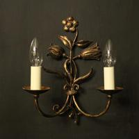 Florentine Pair of Toleware Twin Arm Wall Lights (5 of 10)