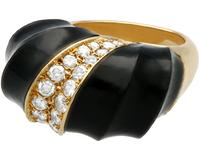 Onyx and 1.06 ct Diamond, 18 ct Yellow Gold Dress Ring - Vintage Circa 1960 (8 of 9)