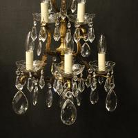 French Pair of Bronze & Crystal 5 Arm Antique Wall Lights (3 of 10)