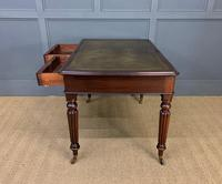 Victorian Mahogany 2 Drawer Reeded Leg Writing Table (13 of 15)