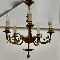 Gilded Brass 5 Branch Rococo Style Chandelier (2 of 8)