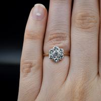 Vintage Old Cut Diamond Daisy Halo Cluster 18ct 18k Yellow Gold Ring 0.52ct Total (5 of 8)