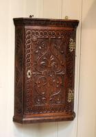 Mid 19th Century Carved Oak Corner Wall Cabinet (4 of 8)