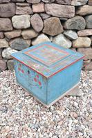 Swedish 'folk art' original blue paint box from hälsingland region, 1847. (12 of 26)
