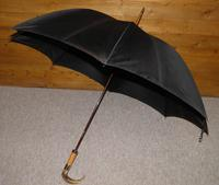 Vintage M.P 9 Carat Rolled Gold Gents Walking Length Umbrella with Black Canopy (9 of 11)