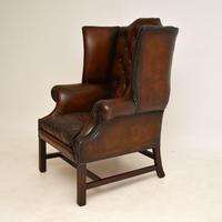 Antique Leather & Mahogany  Wing Back Armchair (3 of 9)