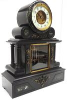 Fine Antique French Slate & Marble Regulator Mantel Clock 8 Day Striking Mantle Clock with Visible Jewelled Escapement (6 of 12)