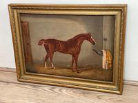 Victorian Oil Painting Chestnut Horse Portrait In Stable Signed Edwin Loder (12 of 42)