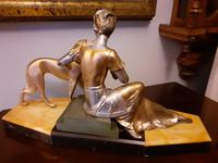 French Art Deco Sculpture Statue Lady with Greyhound (5 of 7)