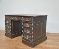 Carved Oak Green Man Pedestal Desk (3 of 5)