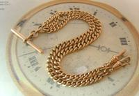 Antique Pocket Watch Chain 1890s Victorian Large 10ct Rose Rolled Gold Albert With T Bar (2 of 12)
