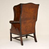 Antique Leather & Mahogany Wing Back Armchair (4 of 11)