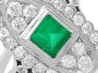 0.57ct Emerald & 1.20ct Diamond, Platinum Ring - Antique c 1920 (2 of 9)