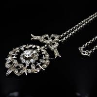 Antique Paste Bow Sterling Silver Drop Pendant and Chain Necklace (3 of 9)