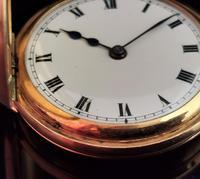 Antique 9ct Gold Half Hunter Pocket Watch, Blue Enamel (7 of 14)