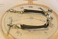 Victorian Equestrain Pocket Watch Chain 1890s Antique Steel & Leather Albert with Snaffle Bit (4 of 12)