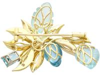 12.5ct Aquamarine & 0.62ct Diamond, 18ct Yellow Gold Brooch - Vintage c.1960 (6 of 9)
