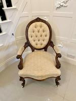 Superb Quality Antique Victorian Carved Walnut Gentleman's Chair