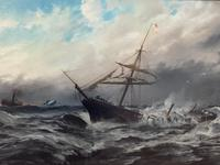 Huge 19th Century Seascape Oil Painting Sinking Ship Signalling Rescuers by Henry E Tozer (5 of 58)