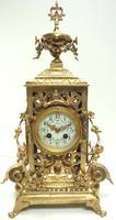 Impressive Antique Candelabra 8-day Clock Set French Striking Rococo Ormolu Bronze Mantel Clock (7 of 15)
