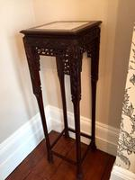 Tall Chinese Hardwood Jardinière Plant Stand with Marble Top (3 of 11)