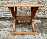 Antique Swedish Pine X-frame Trestle Table (15 of 21)
