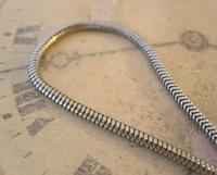 Vintage Pocket Watch Chain 1970s Silver Chrome Snake Link With Ornate Button Hole Fob (4 of 8)