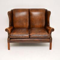 Antique Georgian Style Leather Wing Back Sofa (6 of 11)