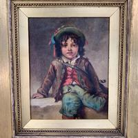 Antique Victorian oil painting portrait of young boy in hat signed JW Roberts 1887 (5 of 10)