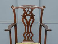 Elegant Chippendale Revival Mahogany Elbow Chair (2 of 13)