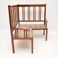 Antique Arts & Crafts Solid Walnut Corner Settee from Liberty of London (4 of 11)