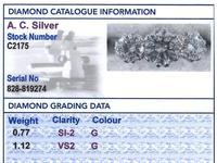 1.89ct Diamond & 18ct White Gold Trilogy Ring c.1950 (6 of 9)