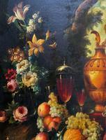 Old Master Revival - Large Original Antique Dutch Still Life of Flowers & Fruit (5 of 12)