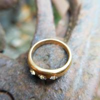 Victorian 18ct Gold Three Diamond Gypsy Ring, Antique Trilogy Ring (2 of 7)