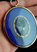 Georgian Mourning Locket, 9ct Gold, Blue Enamel & Seed Pearl, Hairwork (13 of 13)