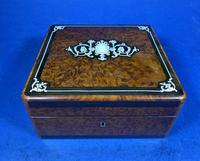 Victorian French Burr Cedar Jewellery Box with Inlay & Original Interior (6 of 13)