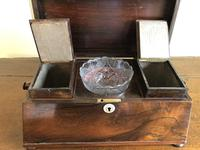 Large Rosewood William IV Sarcophagus Style English Tea Caddy (3 of 6)