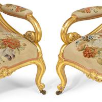Pair of High Victorian Giltwood & Needlework Armchairs by Gillows (9 of 15)