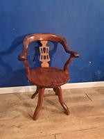 Antique Chinese Cherry Wood Swivel Captains Desk Chair (3 of 10)