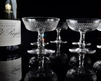 6 French Crystal Champagne Coupes c.1920 (2 of 5)