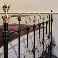 Black Victorian Brass & Iron Bedstead with Brass Circles (10 of 11)