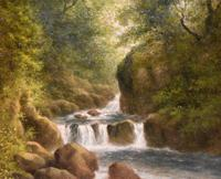 """Oil Painting Pair by William Ward Gill """"Falls at the Head of Loch Lomond"""" (4 of 8)"""