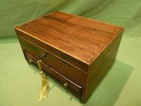 Unisex Rosewood Jewellery Box. Front Drawer. C1830. (3 of 11)