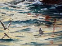 """Seascape Oil Painting """"St Ives Fishing Boat"""" Off Cornwall Coast by Keith English (25 of 36)"""