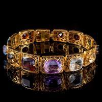 Art Deco Gemstone Bracelet Silver 18ct Gold Gilt c.1920 (5 of 8)